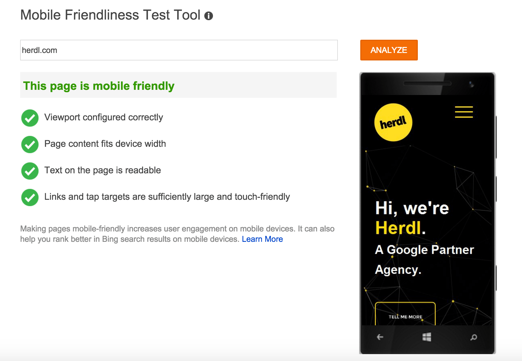 Mobile Friendliness Test Tool