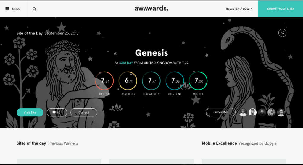 genesis on awwwards